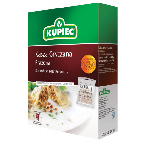 Kupiec - buckwheat roasted groats - box, net weight: 4 x 100 g