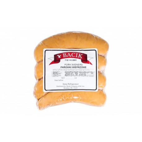 Bacik - pork wieners, net weight: 1 lb