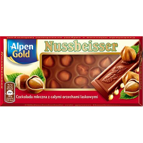 Alpen Gold - milk chocolate with hazelnuts, net weight: 3.53 oz