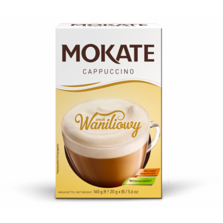 Mokate - Cappuccino, instant coffee, VANILLA flavor, net weight: 5.6 oz (0.7 oz x 8)