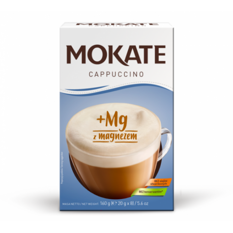 Mokate - Cappuccino, instant coffee with MAGNESIUM, net weight: 5.6 oz (0.7 oz x 8)