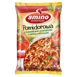 Amino Pomidorowa - instant tomato soup with pieces of tomatoes and parsley, net weight: 2.15 oz